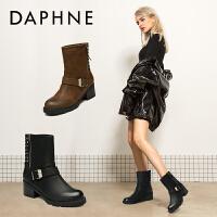 【12.12提前�2件2折】Daphne/�_芙妮女鞋 冬季休�e�凸排�靴英���r尚�R丁靴方根靴子