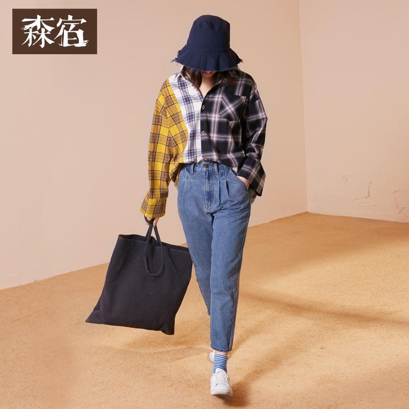森宿W三菱镜冬新款文艺不对称撞色格纹拼接长袖格子衬衫女