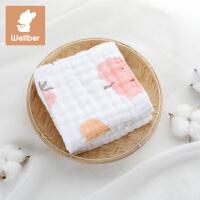 婴儿纱布口水巾小方巾洗脸巾喂奶巾宝宝毛巾手帕