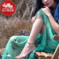 凤凰涅磐脚链女天然石榴石红绳铃铛手工本命年时尚复古民族风饰品