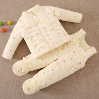 宝宝手工棉衣婴儿棉袄包脚背带棉裤套装新生儿内胆冬季