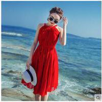 雪纺红色连衣裙旅游度假裙子飘逸休闲时尚女长裙 沙滩裙中裙支持礼品卡支付