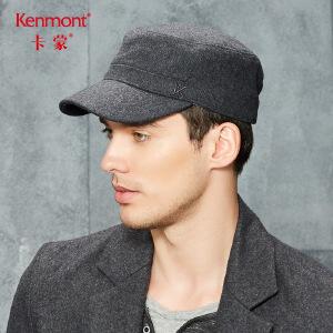 卡蒙男士帽子秋冬季中老年毛呢帽青年加厚羊毛平顶军帽保暖鸭舌帽2645
