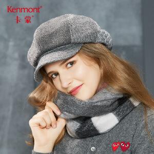 卡蒙复古秋季羊毛呢鸭舌贝雷帽女冬黑色八角蓓蕾帽中青年百搭帽子2617