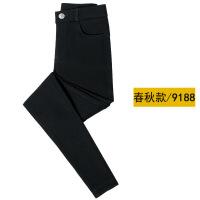 黑色裤子女打底裤薄款外穿长裤韩版高腰显瘦小脚铅笔裤紧身小黑裤