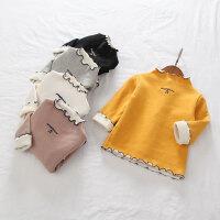 女童秋冬新款上衣2017年童装加绒字母刺绣打底衫 儿童T恤 179806