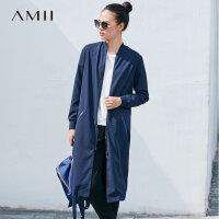 Amii[极简主义]现代帅气 棒球领风衣女 2017秋装新款宽松拉链外套