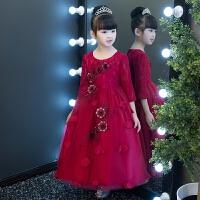 红色花童钢琴演出服小主持人晚礼服 儿童礼服女童公主裙蓬蓬纱长袖
