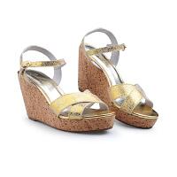 伊-贝拉(YI-BELLA)女鞋真皮坡跟橡胶底女凉鞋一字搭扣露趾韩版女凉鞋