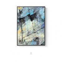 神秘蓝色抽象ins宝丽来色彩水彩现代北欧客餐厅壁挂装饰画