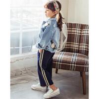 韩版女童装运动裤潮春装儿童条纹九分阔腿裤宽松小孩裤子