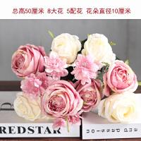 欧式复古仿茶玫瑰茶包茶花束藤编9头玫瑰假花客厅桌面摆件装饰