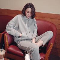 秋季新款纯棉连帽长袖卫衣+直筒裤两件休闲套装女