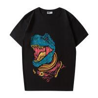 暴龙印花恐龙短袖情侣国潮男女同款T恤GYASTAL 黑色