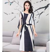 黑白条纹连衣裙宽松2018新款夏装杭州裙子高贵气质 条纹