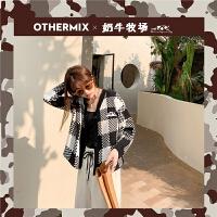 【6折新品价:170.4元】OtherMix黑白格子毛衣短外套女士2021春新款盐系慵懒上衣针织开衫