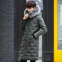 日系羽绒服男士外套中长款宽松加厚冬季原宿潮牌狐狸毛领羽绒大衣