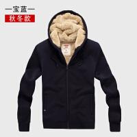 秋冬季羊羔绒运动卫衣男开衫中老年加绒加厚抓绒上衣大码休闲外套
