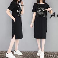 大码女装休闲裙2018新款夏季韩版字母印花短袖T恤中长款