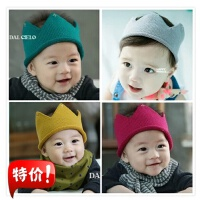 新款韩版儿童皇冠针织男女宝宝毛线帽儿童帽子 儿童摄影发带头花