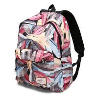 新品双肩包女韩版印花背包中学生书包学院风男旅行电脑包v 渲染羽毛