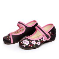 老北京布鞋女款儿童鞋桃花朵朵绣花鞋舞蹈鞋学生鞋民族风大童鞋子