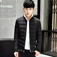 冬装男外套加厚韩版修身纯色服男冬季学生短款衣服 黑 M