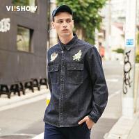 VIISHOW2017秋装新品牛仔长袖衬衫男纯棉撞色拼布装饰男士衬衣
