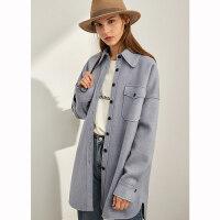 【到手价:220元】Amii极简BF风帅气宽松外套女2019秋冬新款双口袋中长立绒保暖风衣