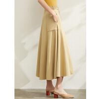 【到手价:182元】Amii极简气质不规则A字半身裙女2020春季新款高腰中长款贴袋裙子