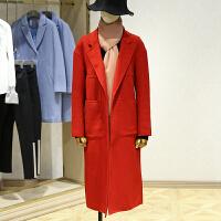 双面呢大衣女冬装新款 纯色落肩中长款百搭长袖外套