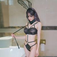 激情套装性感聚拢束身美体绑带蕾丝女塑身提臀吊带袜用品套装 连体衣【含领结+兔耳朵】 均码