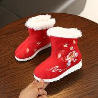 女童冬靴古装汉服鞋儿童绣花鞋老北京布鞋中国风民族风唐装棉靴子