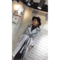 秋季春秋装新款风衣 韩版气质女装收腰女外套长款修身欧美风格子 灰色