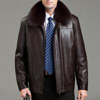 男装冬装真皮皮衣男士短款绵羊皮夹克狐狸毛领貂内胆中老年外套潮