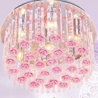 变色玫瑰花LED水晶灯浪漫婚房卧室吸顶灯新家居灯饰客厅灯创意灯七夕 抖音