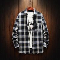新款长袖衬衫格子韩版潮流男士帅气青少年学生休闲衬衣男寸衣