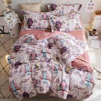 家纺冬季保暖雕花绒珊瑚绒四件套加厚法兰法莱绒被套床单1.8m床上用品