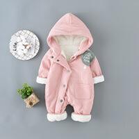 淘气麦兜 宝宝连体衣加绒婴儿秋冬装淘气麦兜3-12个月爬行服保暖幼儿外出服