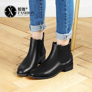【毅雅】2017秋冬新款英伦风切尔西靴短靴欧美时尚中跟单靴粗跟方头马丁靴YM7WJ7707