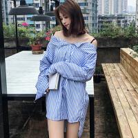 春装新款女装韩版吊带一字领露肩休闲衬衣学生条纹长袖衬衫上衣潮