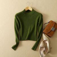 女装秋冬羊绒衫套头纯羊绒短款打底衫修身针织衫高领紧身毛衣黑色
