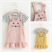 2018夏季新款童装女童短袖条纹T恤+卡通背带裙猫咪套儿童套装