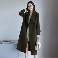 年秋冬季长袖口袋英伦羊毛呢外套女中长款韩版双面呢大衣