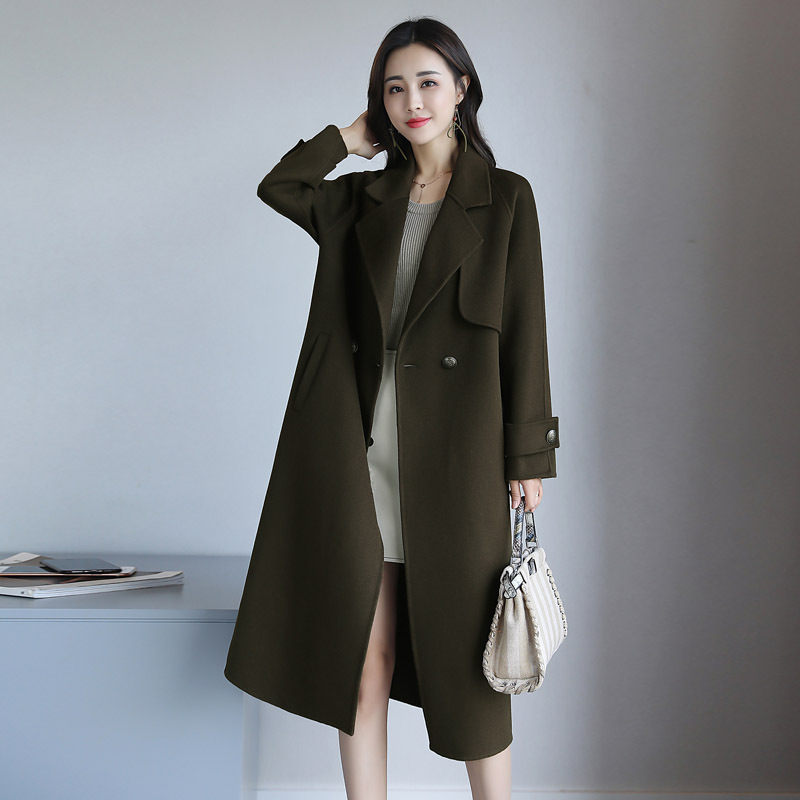 年秋冬季长袖口袋英伦羊毛呢外套女中长款韩版双面呢大衣 一般在付款后3-90天左右发货,具体发货时间请以与客服协商的时间为准