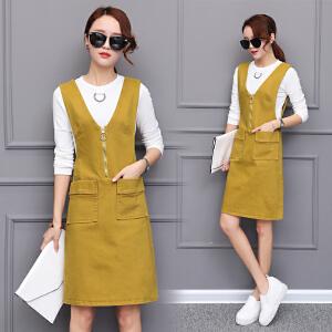 AGECENTRE 2018春季新款韩版中长款背带裙连衣裙女装春装两件套套装裙子女潮