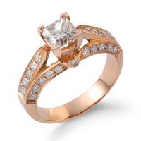 先恩尼珠宝 1克拉钻戒+群镶配钻 红18k玫瑰金婚戒 豪华女款钻石戒指 一心一意结婚戒指 求婚 订婚戒指HF1126