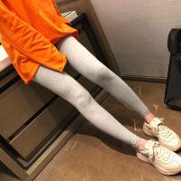 2018秋季新款莫代尔浅灰色高腰打底裤外穿女百搭弹力修身显瘦小脚九分裤