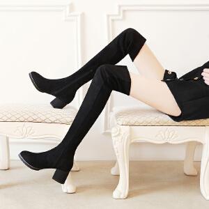 【满200减100】毅雅粗跟侧拉链圆头长筒靴女春秋单靴长靴女过膝弹力靴高筒靴冬季女靴