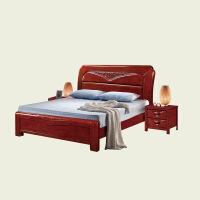 实木家具 中式实木床 1.8米双人床现代卧室家具橡胶木床1.5米美式单人床